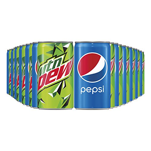 Pepsi and Mtn Dew Mini Can Variety Pack, 7.5 oz Cans, 24 Count(Packaging may vary)