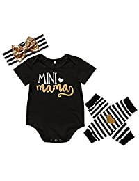 Baby Girls Mini Love Mama Bodysuit and Striped Socks Outfit with Headband