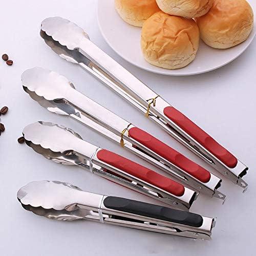 Outils de Cuisine en Acier Inoxydable Anti-échaudage Pain Nourriture Barbecue Clip tenailles BBQ Griller BBQ Outils Cuisine Grill Accessoires (Color : 34cm Black) 28cm Red