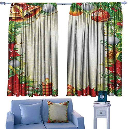 Mannwarehouse New Year Simple Curtain Abstract Swirled Background with Xmas Tree Pattern Baubles Candle Festive Theme 70%-80% Light Shading, 2 Panels,55