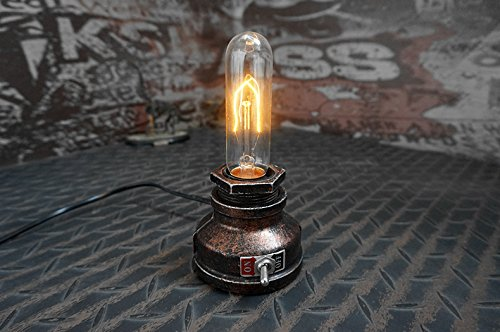 "Y-Nut Loft Style Lamp,""Corporal Bronze"" Steampunk Industrial Vintage Style, Water Pipe Table Desk Light with Dimmer, Aged Rustic Metal (Bronze)"