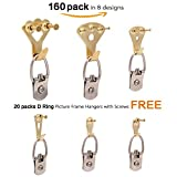 picture mount - Picture Hangers 2.0, JKtown 160 Pcs Professional Golden Photo Frame Hooks,Heavy Duty Mount Holder Hanging Kit for Wall Mounting with Pin Nails,supports 10-100 lbs