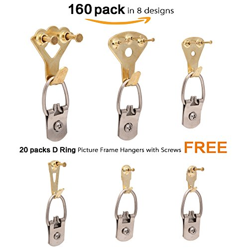 Picture Hangers 2.0, JKtown 160 Pcs Professional Golden Photo Frame Hooks,Heavy Duty Mount Holder Hanging Kit for Wall Mounting with Pin Nails,supports 10-100 lbs