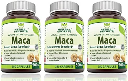 Herbal Secrets Maca 500 Mg 250 Caps - Supports Reproductive Health - Energizing Herb, (Pack of 3)