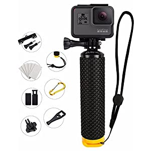ProFloat Waterproof Floating Hand Grip compatible with GoPro Cameras Hero Session Black Silver Hero 2 3 3+ 4. Handler Plus FREE Handle Mount Accessories. Water Sport Floaty for Action Camera (Yellow)
