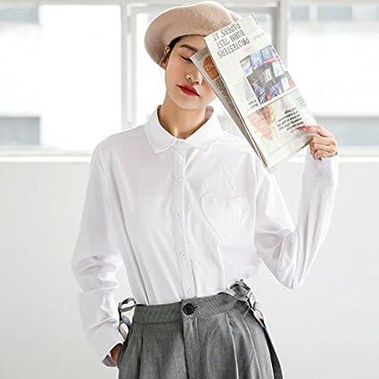 XXIN Camisa Blanca De Manga Larga/para Mujer/Suelta/Camisa De ...