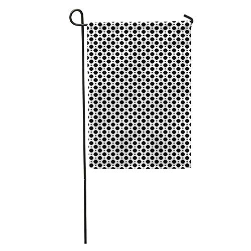 NfuquyamDoormat Garden Flag Simple Black White Geometric Monochrome on Mesh Lattice Tissue Structure Home Yard House Decor Barnner Outdoor Stand 12x18 Inches Flag
