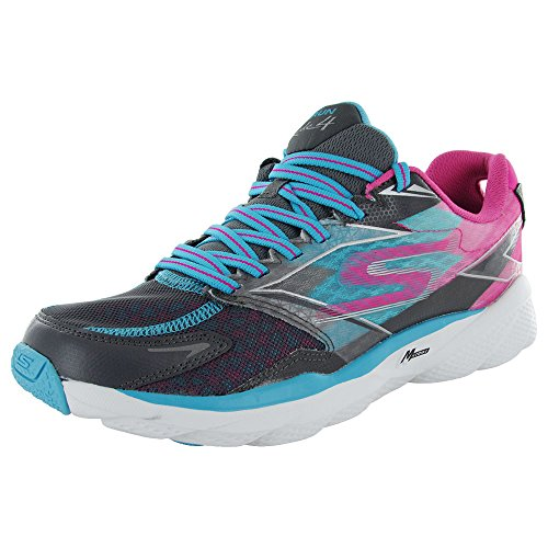 Skechers Performance Women's Go Run Ride 4 Running Shoe, Charcoal/Blue, 7.5 M US