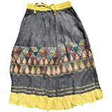 Womens Boho Maxi Skirt Embroidered Gypsy Vogue Flirty Skirts S