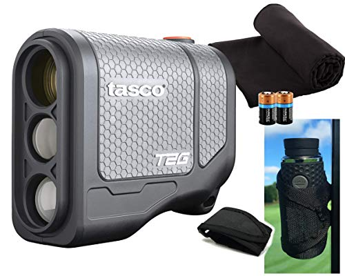 Tasco Tee-2-Green (Standard Version) Golf Laser Rangefinder PlayBetter Pack | 2019 | 5X Mag, 1 Yard Accuracy, Scan Mode, (+Cart Mount, Microfiber Towel, Two CR2 Batteries)