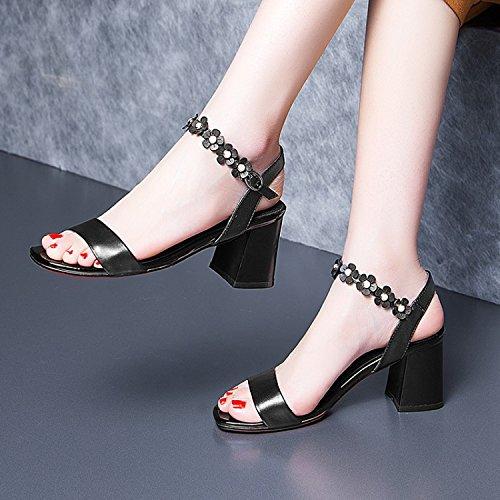 Transpirable de Moda pies 40 de Heels seis Treinta de correa negro AJUNR tobillo de y tacon 7 rough mujer los Zapatos Sandalias alto cm zapatos elegante dedos wdE0xXq0