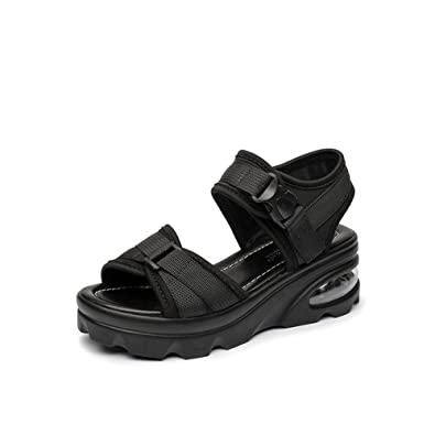 4274fce35d899 Koyi Nouveau Femmes Sandales Épaisseur Hauteur Velcro Plat Casual Sport Filles  Pompes Open-Toed Platform