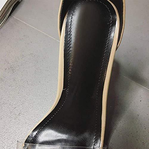 Épais Femmes Mode Argent Sandales Des À coloré D'été Oudan Talons Sexy Abricot Ouvert Chaussures Cristal En Taille 36 Pour Bout Avec Hauts Transparentes 0TdHY0xwq