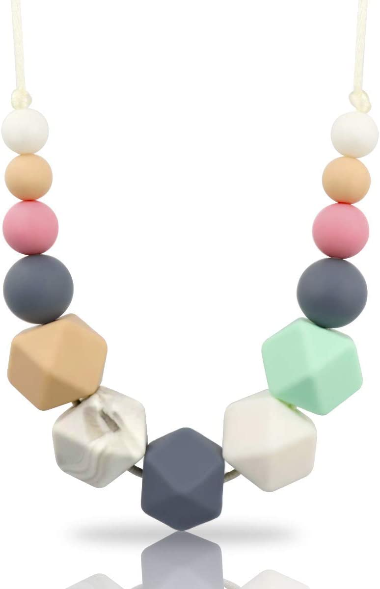 KEFU Collar Mordedor de Lactancia para Bebé Mordedor sin BPA Silicona Antibiótico Cómodo use collar Hermosa Moda (Colorear2)