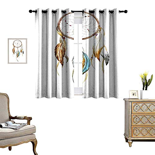 (Feather Window Curtain Drape Native American Watercolor Style Ornament Dream Catcher Ethnic Tribal Elements Decorative Curtains for Living Room Brown Blue Grey)