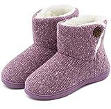 Women's Comfort Woolen Yarn Woven Bootie Slippers Memory Foam Plush Lining Slip-on House Shoes w/Anti-Slip Sole Indoor, Outdoor (Large/9-10 B(M) US, Purple)
