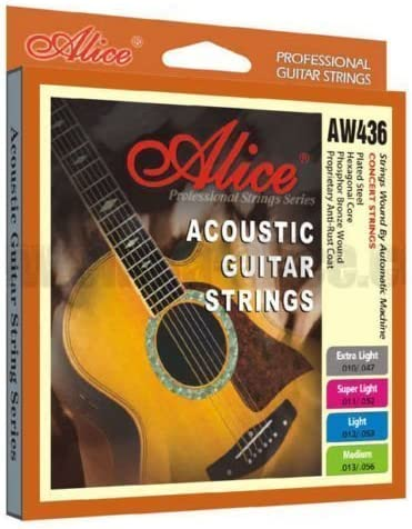 Alice Cuerdas Guitarra Acústica AW436M Recubierto Fósforo Bronce Mediano (13-56)