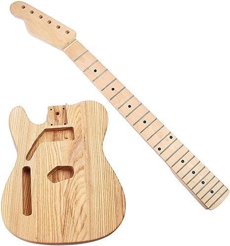 1 juego de cuerpo de guitarra de fresno sin terminar + mástil de ...