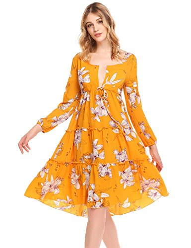 Zeagoo Women's Sexy V-Neck Floral Print Vintage Long Sleeve Wrap Beach Party Dress Yellow S (Pattern Yellow Floral)