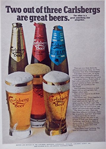 carlsberg-beer-print-ad-color-illustration-two-out-of-three-original-1971-magazine-art