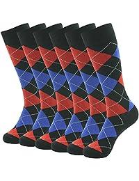 SUTTOS Men's Elite Casual Fun Patterned Mid Calf Crew Dress Socks,6 Pairs