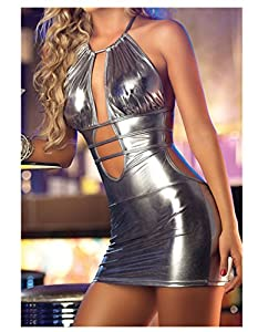 women's sexy female patent leather strappy stage show uniform lingerie mini dress, one size (silver)