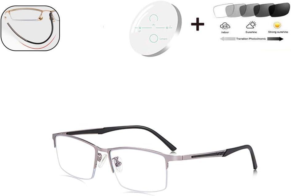 HQMGLASSES fotocromáticas Gafas de Lectura al Aire Libre, progresiva Multi-Foco de la Lente HD Marco Rectangular clásica Adecuada para la conducción los Hombres/Pesca dioptrías +1,0-+3,0,Gris,+1.5