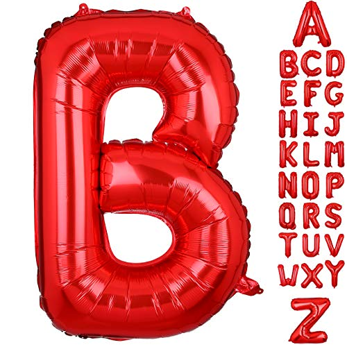 40 Inch Large Letter B Foil Balloons Red Alphabet Mylar Balloon for Birthday Party Decoration Wedding Decor Girls