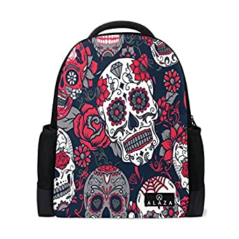 ALAZA Vintage Flower Sugar Skull Polyester Backpack School Travel Bag