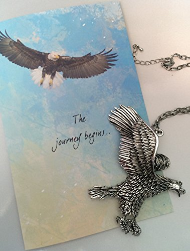 Smiling Wisdom Eagle Ornament and Journey Begins When You Decide to Soar Greeting Card Gift Set - Unique Grad Gift for Friend, Son or Nephew - Rear View Mirror Ornament - Nephew Ornament