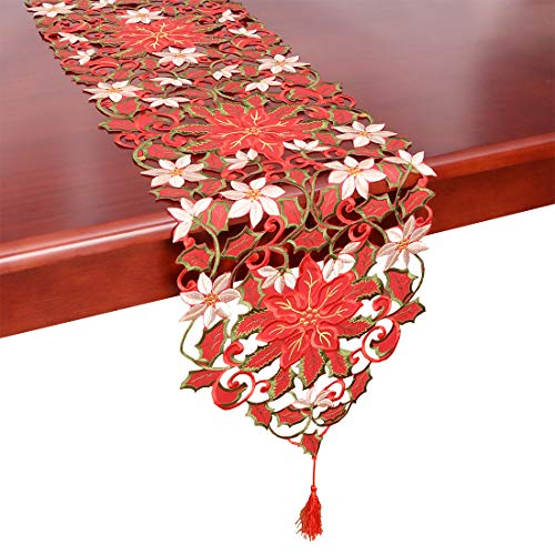 Simhomsen Christmas Holiday Poinsettia Lace Table Runners, Dresser Scarves 13 × 84 Inch