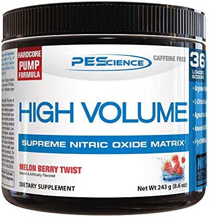 PEScience High Volume, Melon Berry Twist, 36 Scoops, Nitric Oxide Pre Workout Powder
