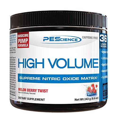 (PEScience High Volume, Melon Berry Twist, 36 Scoops, Caffeine-Free)