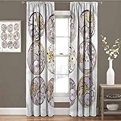 GUUVOR Clock Wear-Resistant Color Curtain Technical Theme Clock Waterproof Fabric W72 x L84 Inch