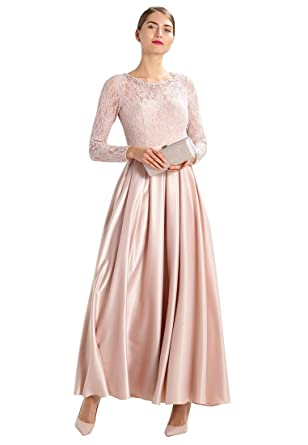 dressvip Round Neck Long Sleeve Pink Women Prom Dresses Evening Dresses