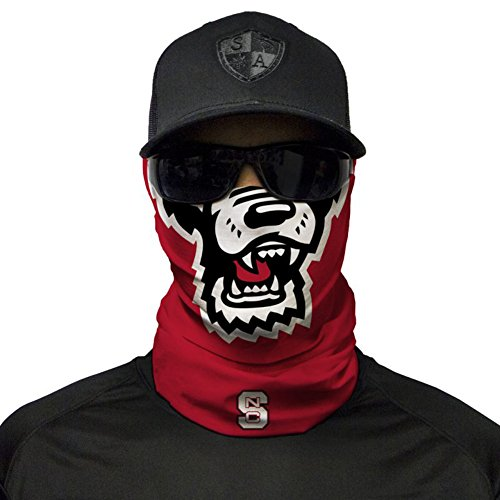 SA Company Gameday College Face Shield Mask for Tailgating. Show your school pride. Bandana, Balaclava, Doo-rag, Neck Warmer Gaiter for NCAA, Big 12, SEC, PAC 12, Big 12, Football, Basketball - NC State Wolfpack (Ball State Basketball)