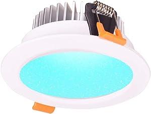 12W Smart ZigBee RGBW LED Downlight Kit Light Bulb Working with Echo Plus and Compatible ZigBee Bridge and Hub for Smart Home Automation Google Home Amazon Echo Dot Echo Plus Alexa Voice Control