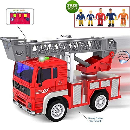 (FUNERICA Toy Fire Truck with Lights and Sounds - Extendable Ladder -Powerful Friction Wheels - Mini Firetruck Toy for Toddlers and Young Kids- Bonus: 5 Fireman and Toy Figures)