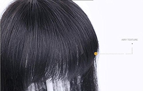 3.9''4.3''Real Human long Hair hair topper clip in/on hair piece with bangs for women hair loss Thin hair Natrual black Yudit(Length 15''/38cm)