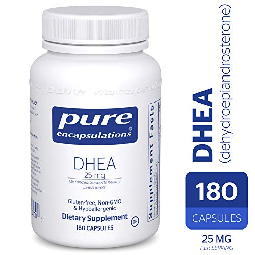 Pure Encapsulations - DHEA (Dehydroepiandrosterone) 25 mg - Micronized Hypoallergenic Supplement - 180 Capsules (Best Drug To Increase Female Libido)