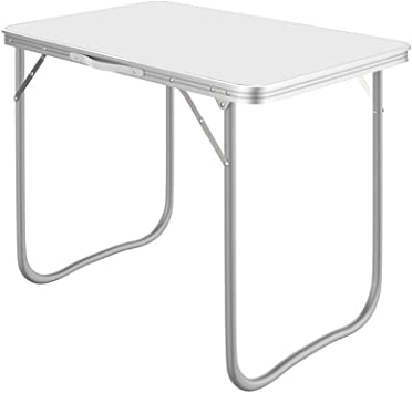 RLY Tabla Plegable, Tabla Plegable Al Aire Libre Plegable De La Chapa De La Tabla De La Barbacoa De La Tabla Al Aire Libre De Los 70 * 50CM (Color : White,