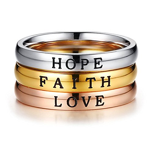 Hope Stackable Ring - JINSHIYINYU 3 Pcs Stainless Steel Faith Love Hope Inspirational Words Triple Stackable Band Ring for Women