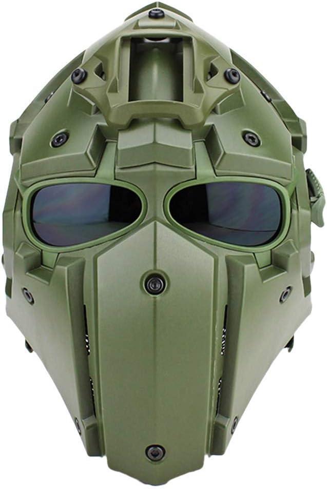 XYLUCKY Cascos integrales, Casco Militar táctico, Casco Paintball Airsoft, Casco Protector máscara Facial Completa para Actividades al Aire Libre Cosplay Movie Prop
