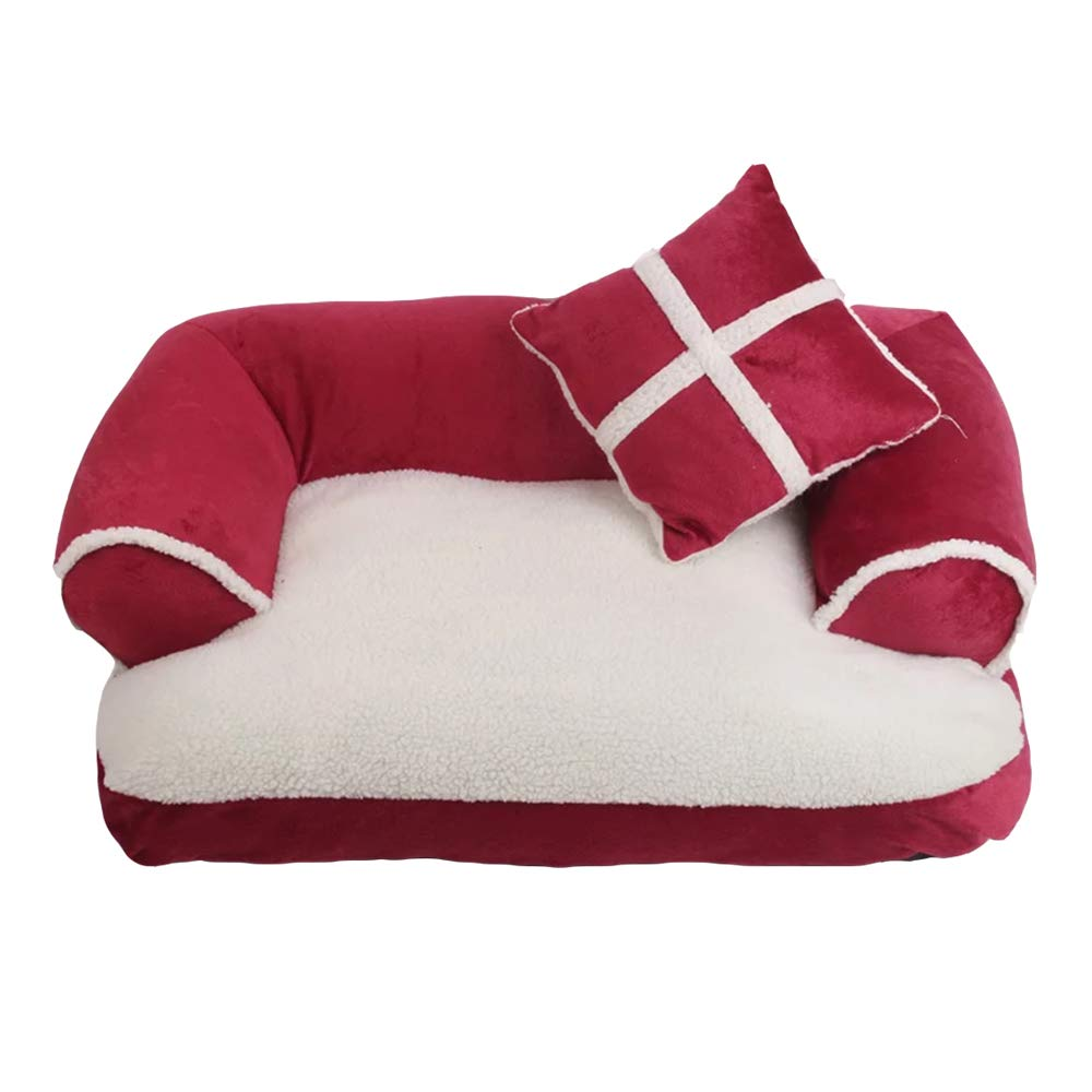 pink 8060cmWarm Comfortable Sofa Dog Bed Soft Cotton Dog House Plus Size Pet Bed For Dog And Cat Dog Kennel (color   pink, Size   80  60cm)