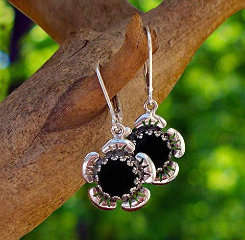 Recycled Antique Black Depression Glass Sterling Silver Flower Leverback - Depression Platter