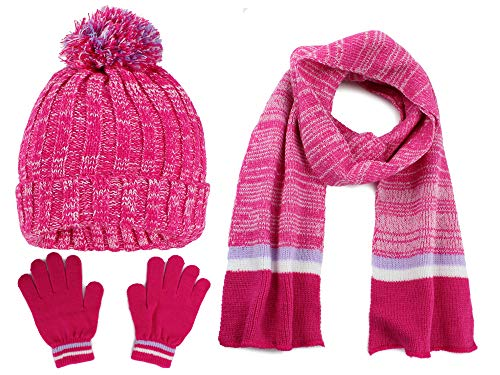 S.W.A.K Kids Girls Knit Pompom Beanie Hat Scarf and Gloves Set One Size Fits Most Multicolor Fuchsia Pink/Lavender Purple