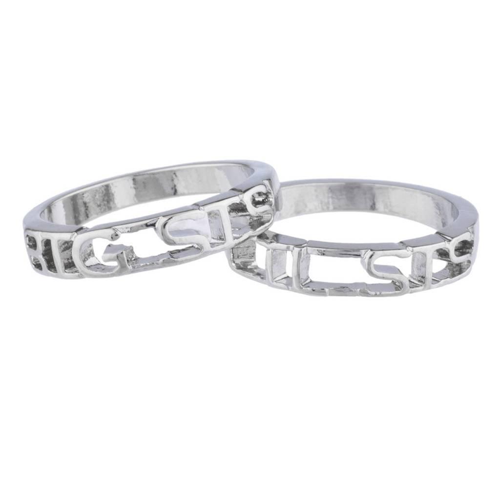 Lux Accessories Silvertone Big SIS Lil SIS sorelle Best Friends anello, pezzi R272049-1E-R298