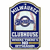 MLB Milwaukee Brewers 11/17-Inch Traditional Look Wood Sign