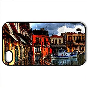 After the rain - Case Cover for iPhone 4 and 4s (Houses Series, Watercolor style, Black)