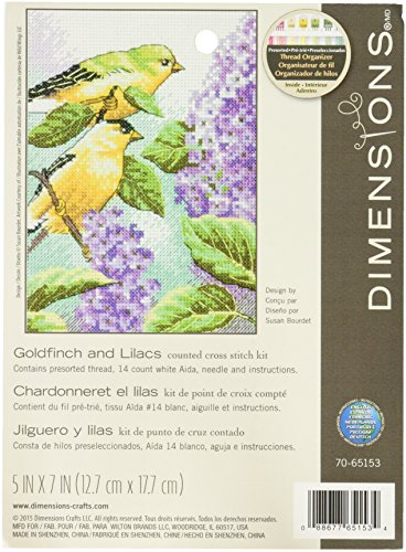 Dimensions Goldfinch and Lilacs Counted Cross Stitch Kit, 14 Count White Aida, 5